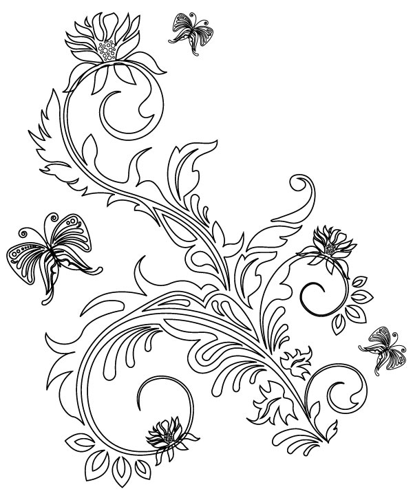 Freebie Release: 5 Floral Ornaments Vector Brushes